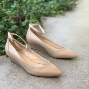 Nine West Nude Leather Wedge Pointy Toe Flat